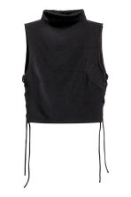 Cropped top with lacing - Black -  | H&M 2